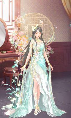 Fantasy Art Women, Beautiful Fantasy Art, Ball Gown Dresses, I Dress, Chinese Drawings, Anime Maid, Anime Warrior, Anime Dress, Art Costume