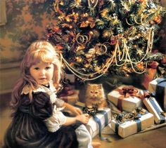 Sandra Kuck Christmas Scenes, Noel Christmas, Christmas Morning, Christmas Pictures, Vintage Christmas, Christmas Cards, Christmas Artwork, Victorian Christmas, Christmas Colors