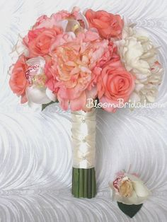 Peach Coral & Cream Orchids Roses and by BloomBridalCreations, $136.00