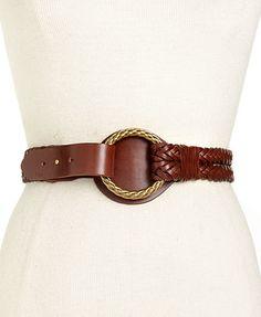 Lauren Ralph Lauren Belt, Leather Double Woven Ring
