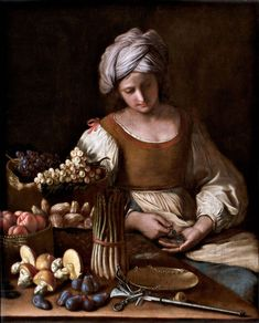 Fruit and Vegetable Seller by Guercino (Giovanni Francesco Barbieri) Baroque Painting, Baroque Art, Italian Painters, John The Baptist, Italian Art, Vintage Artwork, Italian Fashion, A4 Poster, All About Fashion