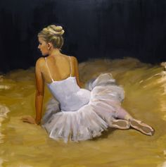 Painting of a ballerina. Oil on canvas.  Artist: Charlotte Partridge