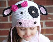 MOO Cow Earflap Hat Crochet Pattern (Permission to sell all finished products). $4.99, via Etsy.