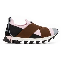 Dolce and Gabbana Black and Pink Straps Slip-On Sneakers (3.845 DKK) ❤ liked on Polyvore featuring shoes, sneakers, slip-on shoes, low profile shoes, dolce gabbana sneakers, dolce gabbana shoes and slip on shoes
