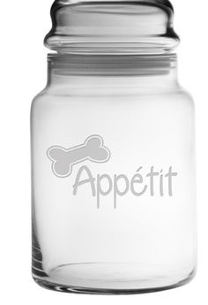 Bone Appétit Treat Jar This adorable pet treat jar is perfect for your furry friends snacks. Bone Appétit! This apothecary style jar is glass, comes with a lid and holds approximately 31 ounces of tre