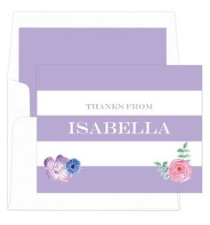 Orchid Vintage Flower Thank You Note Cards