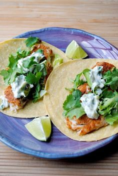 Fish Tacos with Lime-Cilantro cream