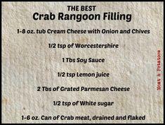 crab rangoon dip Meat & Potatoes, Recipes and More!: The BEST Crab Rangoon Filling Crab Rangoon Filling, Crab Rangoon Dip, Crab Rangoon Recipe, Crab Wontons, Cheese Wontons, Crab Dip Recipes, Wonton Recipes, Milk Recipes, Seafood Recipes