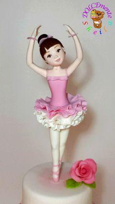 Ballerina - Cake by Sheila Laura Gallo Ballet Birthday Cakes, Ballet Cakes, 4th Birthday Cakes, Ballerina Birthday, Ballerina Cookies, Fondant Toppers, Fondant Tutorial, Dessert Decoration, Girl Cakes