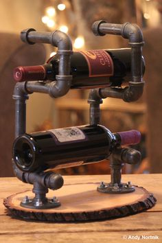 Wine Rack for Rustic or Modern Mountain Log by steampunkartist1, $55.00