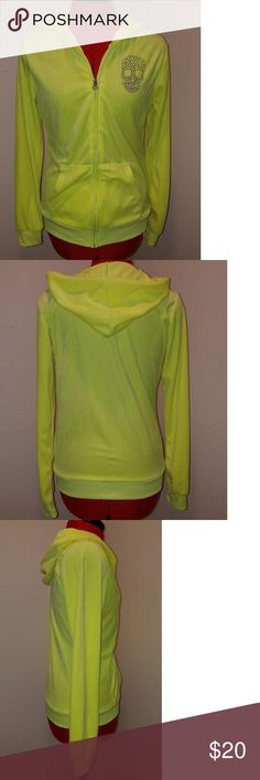 hard candy velour jacket Highlighter yellow. Great condition. No stains/holes and all crystals are in the skull. Ready to wear Jackets & Coats