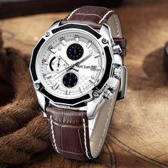 MEGIR Quartz Genuine Leather Run Chronograph Men's Wrist Watch Perfect Quality Best Watches For Men, Cool Watches, Men's Watches, Casio Vintage, Mens Watches Leather, Bracelet Cuir, Sport Watches, Fashion Watches, Fashion Men