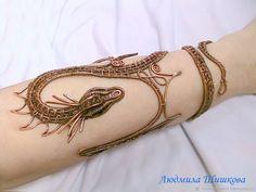 """Купить Браслет """"Дракон"""" - коричневый, wire wrap, браслет, большой браслет, дракон, дракон из меди #wirejewelry"""