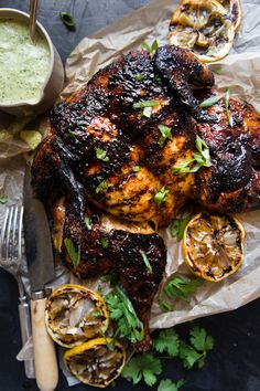 Rubbed with a smoky spice mix, our recipe for grilled spatchcocked chicken could not be easier. Let your grill do the heavy lifting while you whip up a garlicky herb sauce to serve on the side. Grilled Whole Chicken, Raw Chicken, Grilled Chicken Recipes, Stuffed Whole Chicken, Grilled Meat, Spatchcocked Chicken Recipe, Butterflied Chicken, Tandoori Chicken, Spatchcock Chicken Grilled