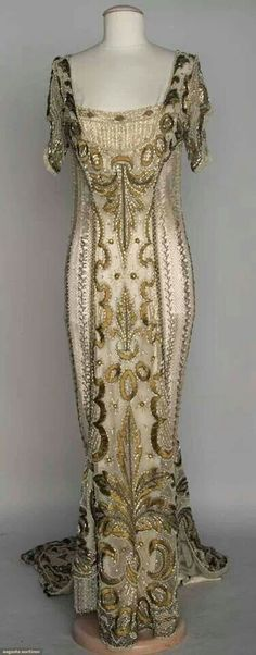 1908 one-piece evening gown