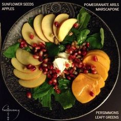 Easy Salad Recipe Idea: Take your fall fruits (Pears, Pomegranate Arils, and Persimmons) and toss on a salad for the holidays! Use a touch of honey ginger dressing and sprinkle some cinnamon on top. Add pecans or walnuts for extra crunch. It even has the colors of Christmas!
