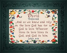 David - Name Blessings Personalized Cross Stitch Design from Joyful Expressions Cross Stitch Quotes, Cross Stitch Heart, Micah Bible, Cross Stitching, Cross Stitch Embroidery, Cross Stitch Designs, Cross Stitch Patterns, Bible Covers, Gifts For Family