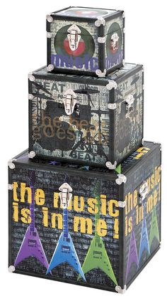 "UMA gets musical with its ""I've got the music in me"" collection of storage boxes, made of wood and canvas. Umainc.com."