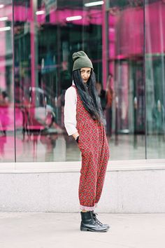 London Fashion Week SS 2013….Nadia)  Nadia Sarwar from FrouFrouu blog, after Matthew Williamson, London, September 2012.        Love Nadia's style….and this season she was absolutely rockin' the onesie/jumpsuit.