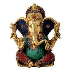 Ganesha Idol Brass Turquoise Stone Sculpture Hindu God Ganesh Home Decor Ganesh Statue, Shri Ganesh, Ganesha Art, Wedding Gifts Online, Gift Wedding, Ganesh Idol, Lord Ganesha Paintings, Radha Krishna Wallpaper, Ganesh Wallpaper