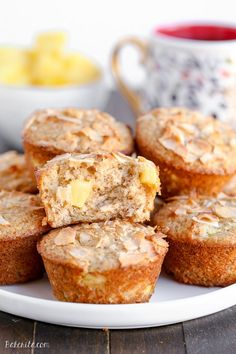 Have a taste of the tropics with these Vegan Pineapple Coconut Muffins! They're super soft, full of tropical flavor, and no one would ever guess that they are dairy-free + vegan.