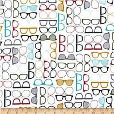 Timeless Treasures Geek Chic Eye Glasses White