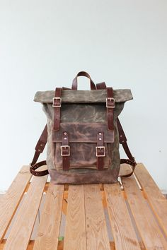 1d1cacb6d Waxed Canvas Backpack Roll top with brown leather details