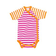 giggle Better Basics Stripe Lap Shoulder Baby Body (Organic Cotton)