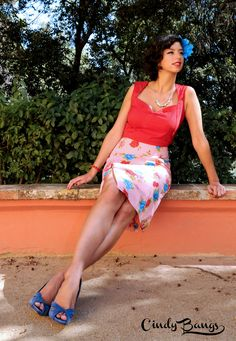 Aura Skirt + mexican inspired flower print in pink.