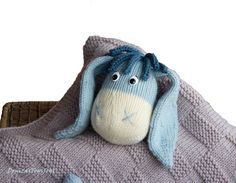 Donkey Toy Baby Blanket knitting pattern. Toy is by deniza17