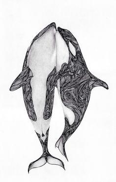 Orcas Ink and pencil Author: Max Rajado Orca Tattoo, Whale Tattoos, Killer Whale Tattoo, Tattoo Studio, Posca Art, Drawn Art, Whale Art, Killer Whales, Art Plastique