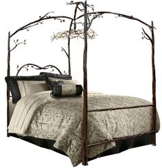 Bedroom, : Entrancing Furniture For Bedroom Decoration Using Twig Canopy Cast Iron Bed Frame Including Iron Twig Headboard And Black Bed Valance Iron Canopy Bed, Queen Canopy Bed, Canopy Beds, Canopy Curtains, Door Canopy, Canopies, Bunk Bed, Wrought Iron Beds, Four Poster Bed