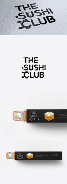 Negative space logo design by goopanic, created with a custom Japanese inspired typeface for The Sushi Club restaurant. #typography #seafood #branding