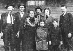 "Hatfield and McCoy feud-- Hatfield family-left to right-  ""Devil Anse"" Hatfield, Willis Hatfield (son), Louvisa (wife), John Reed Caldwell (son in law), Elizabeth Hatfield Caldwell (daughter), Joseph D. Hatfield (son) and in the front are the Caldwell's children Osa Caldwell Browning and Joe Caldwell."