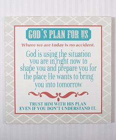 Another great find on #zulily! 'God's Plan' Wall Sign by Adams & Co. #zulilyfinds