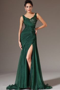 2014 V Neck Beaded Neckline Ruched Bodice Sheath/Column Prom Dress With Slit