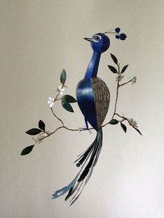 Peacock sculpture, 3d wall decor, bird mobile, 1st anniversary gift, one year anniversary, Patroklos the Peacock, handprinted, one of a kind