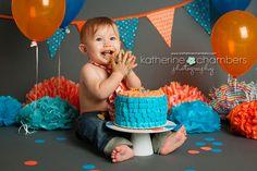 www.katherinechambers.com, Cleveland Cake Smash Fun! {Cleveland Cake Smash Photographer}, Orange and blue cake smash