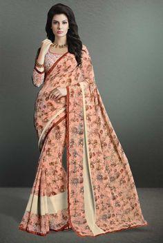 buy saree online Light Pink Colour Georgette Printed Party Wear Saree Buy Saree online - Buy Sarees online