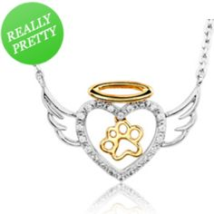I've tagged a product on Zales: ASPCA® Tender Voices™ 1/10 CT. T.W. Diamond Paw Heart with Wings Necklace in Sterling Silver and 10K Gold