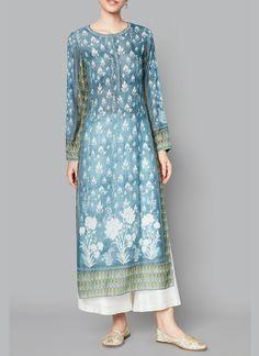 Buy Vintage blue cotton voil checks inia kurta by Anita Dongre at Aza Fashions Anita Dongre, Indian Designer Suits, Indian Fashion Designers, Kurti Neck Designs, Kurta Designs Women, Indian Attire, Indian Wear, Pakistani Outfits, Indian Outfits