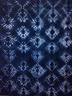 "Shibori hand stitched and dyed, 26""x27"" diamond  all-over pattern navy/indigo cotton/bamboo fabric"