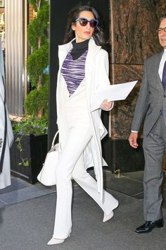 Amal Clooney Is Ready for Spring in a Bright White Suit