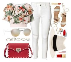 """""""Tropical"""" by smartbuyglasses ❤ liked on Polyvore featuring Philosophy di Lorenzo Serafini, Ray-Ban, Hollister Co., Valentino, GUESS, rag & bone, Yves Saint Laurent, Lancôme, white and red"""
