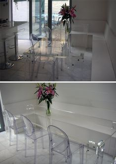 Clear perspex dining table? Hmmm a bit too much with the chairs as well perhaps.