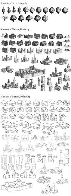 Map icons font graphics images trees buildings architecture map cartography | Create your own roleplaying game material w/ RPG Bard: www.rpgbard.com | Writing inspiration for Dungeons and Dragons DND D&D Pathfinder PFRPG Warhammer 40k Star Wars Shadowrun Call of Cthulhu Lord of the Rings LoTR + d20 fantasy science fiction scifi horror design | Not Trusty Sword art: click artwork for source