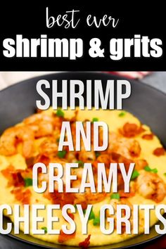 The Best Shrimp And Creamy Cheesy Grits Easy Shrimp And Creamy Cheesy Grits The Ultimate Southern Meal Cheesy Grits Spicy Shrimp Crispy Bacon And Fresh Green Onions Make The Ultimate Comfort Food Shrimpandgrits Glutenfree Shrimp Recipes For Dinner, Shrimp Recipes Easy, Seafood Dinner, Fish Recipes, Crab Cake Recipes, Spinach Recipes, Steak Recipes, Seafood Recipes, Gourmet