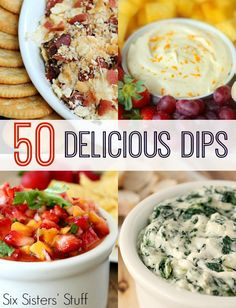 50 Delicious Dip Recipes - find them all on SixSistersStuff.com