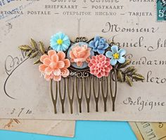 Hey, I found this really awesome Etsy listing at https://www.etsy.com/listing/184284121/peach-wedding-hair-comb-soft-blue-pink