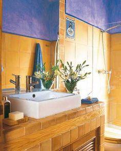 1000 images about blue bathrooms on pinterest blue for Yellow tile bathroom paint colors